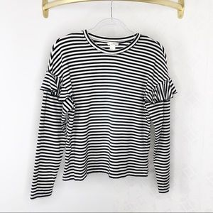 H&M Black and White Striped Ruffle Top